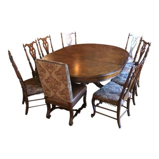 American Drew Oak Dining Set - 11 Pieces For Sale