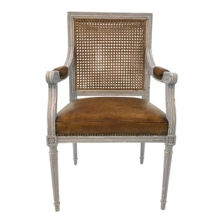 Bungalow 5 Transitional Leather and Cane Gray Arm Chair For Sale