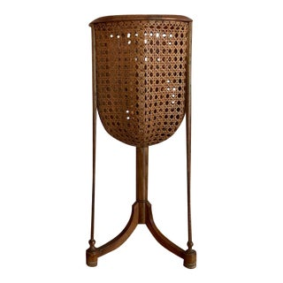 1960s Cane Basket Plant Stand For Sale