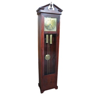 Antique Colonial Mfg Co Empire Style Mahogany Grandfather Clock For Sale