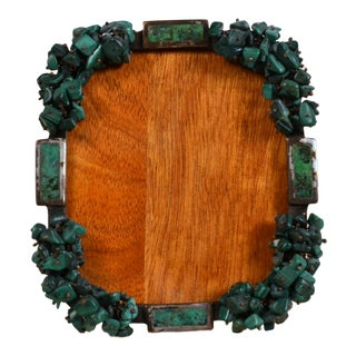 Rare Los Castillos Carved Malachite Picture Frame For Sale