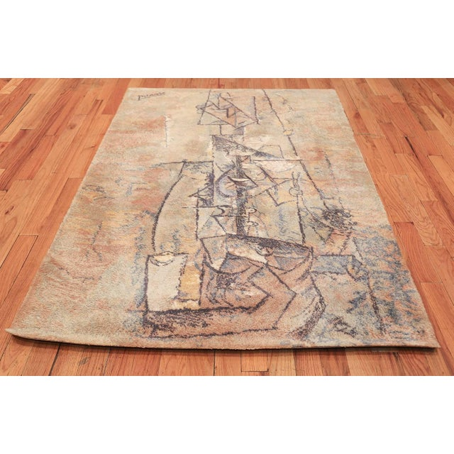 Pablo Picasso Vintage Ege Art Line Scandinavian Pablo Picasso Woman With Guitar Rug - 4′7″ × 6′7″ For Sale - Image 4 of 13