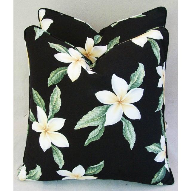 Custom Tropical Blossom Barkcloth Pillows - A Pair - Image 3 of 10