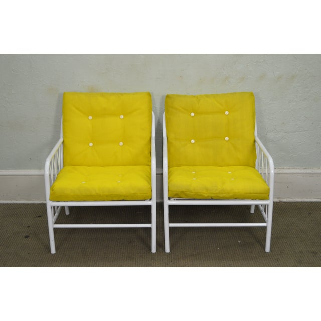 Mid Century Modern Brown Jordan Style White Patio Pair of Lounge Chairs w/ Yellow Cushions AGE/COUNTRY OF ORIGIN – Approx...