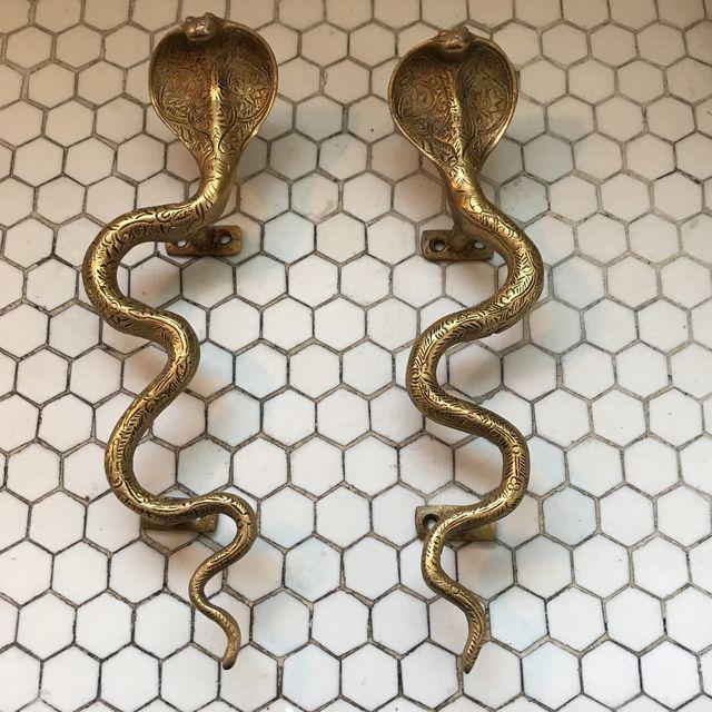 Hollywood Regency Gold Brass Cobra Door Handles- a Pair - Image 2 of 11