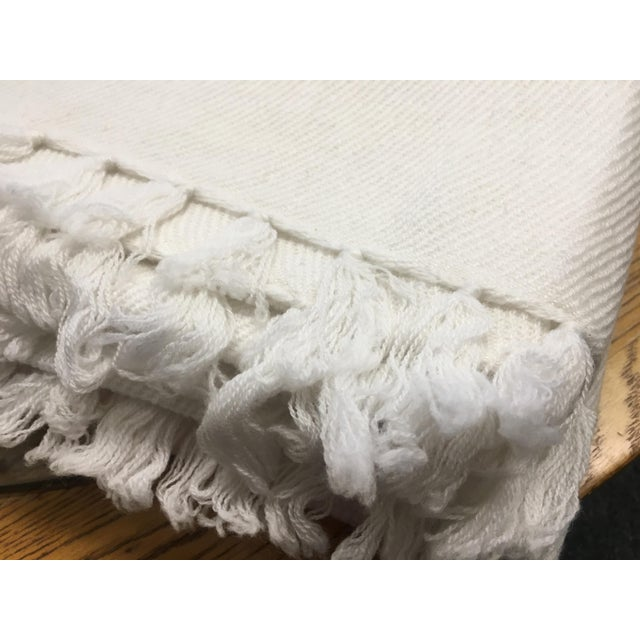 White Cashmere Blanket With Tassels - Image 3 of 11