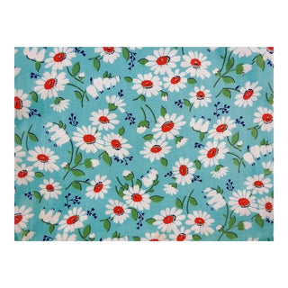 Vintage Cotton Turquoise & Daisies Fabric - 4 Yards