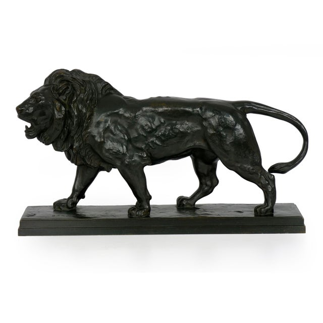 """Lion Marchant"" Antique French Bronze Sculpture by Antoine-Louis Barye, Barbedienne For Sale - Image 13 of 13"