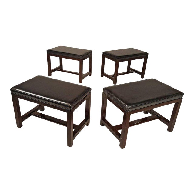 Two Pairs of Solid Mahogany Stools by Edward Wormley for Dunbar For Sale