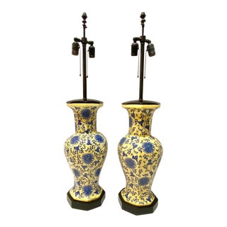 Chinoiserie Blue and Yellow Table Lamps - A Pair For Sale