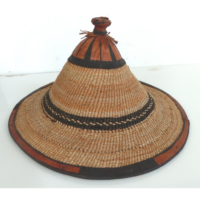 African Woven Straw   Leather Hats (Ghana) For Sale - Image 5 of 10 d0e38a827fa5