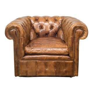Early 20th C. Tufted Leather Club Chair C.1930 For Sale
