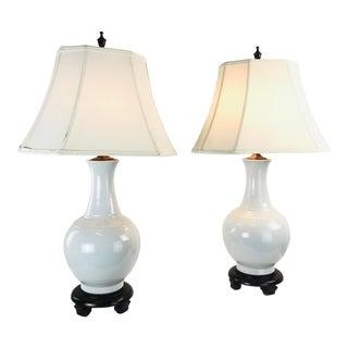 Pair MCM Porcelain Vase Lamps For Sale