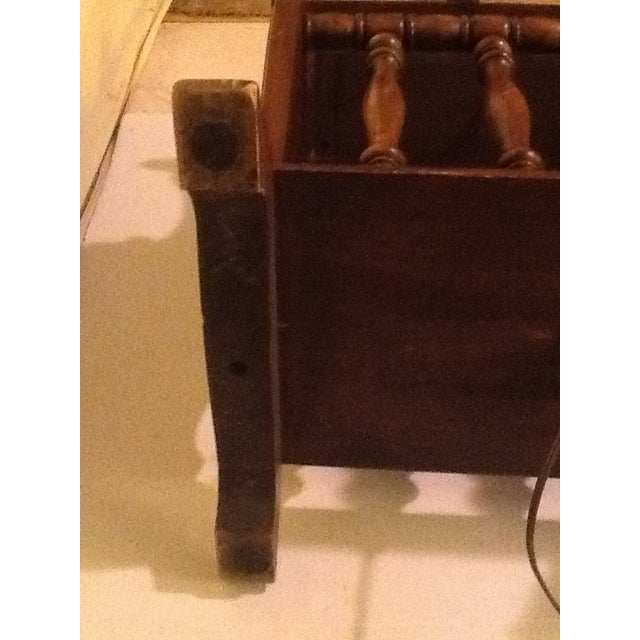 Mid-Century Wood and Brass Magazine Rack/Side Table/Lamp For Sale - Image 9 of 11