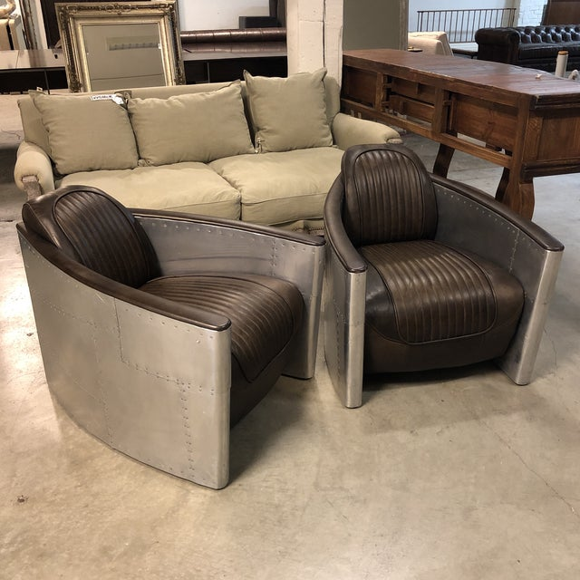 Pair of Restoration Hardware Aviator Chairs For Sale - Image 10 of 13
