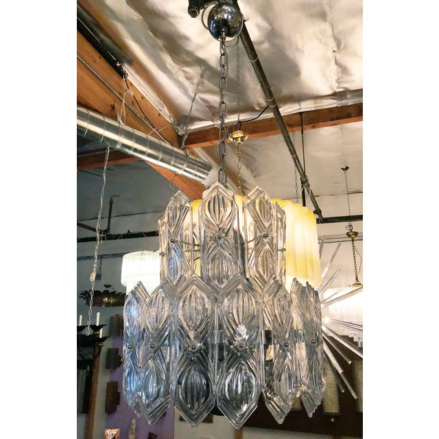 Vintage Art Deco style chandelier with 2 layers of clear etched glasses mounted on nickel frame / Made in Italy, circa...