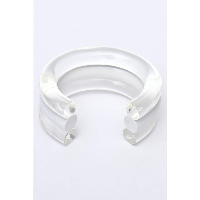 Judith Hendler Lucite Clear and White Cuff Bracelet For Sale - Image 4 of 9