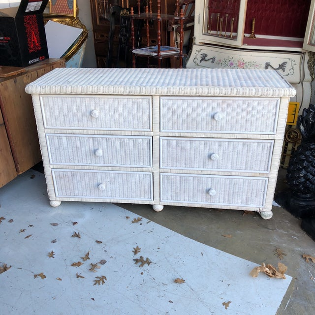 White Footed Wicker Six Drawer Dresser For Sale - Image 4 of 4
