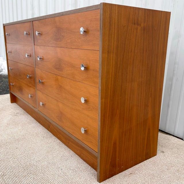 Burnt Umber Vintage Modern Six Drawer Teak Dresser For Sale - Image 8 of 13