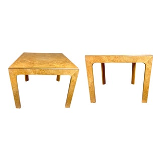 Pair of Henredon Burlwood Side Tables For Sale