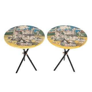 "Piero Fornasetti ""Città DI Carte"" Side Tables, Circa 1950s - a Pair For Sale"