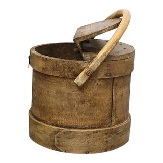 Antique French Wood Fishing Bucket For Sale
