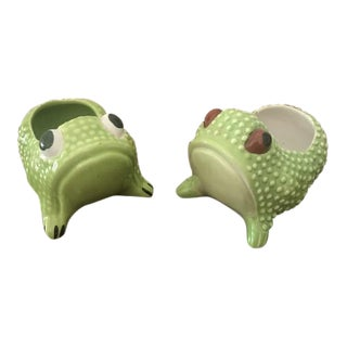 Small Green Frog Planters - A Pair