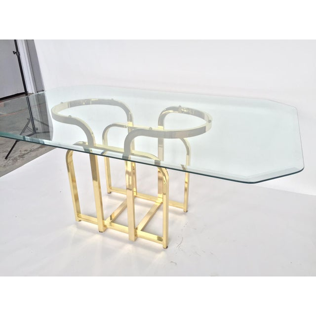 Glam Sculptural Glass & Brass Dining Table - Image 5 of 5