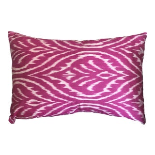 Pink Silk İkat Pillow Cover For Sale