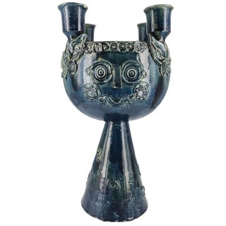 Bjorn Wiinblad Ceramic Centerpiece Candelabra With Hand-Poured Soy Candle For Sale