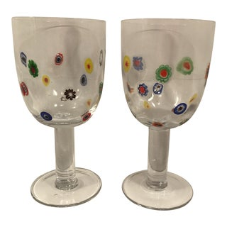 1980s Millefiori Wine Glass Goblets - a Pair For Sale