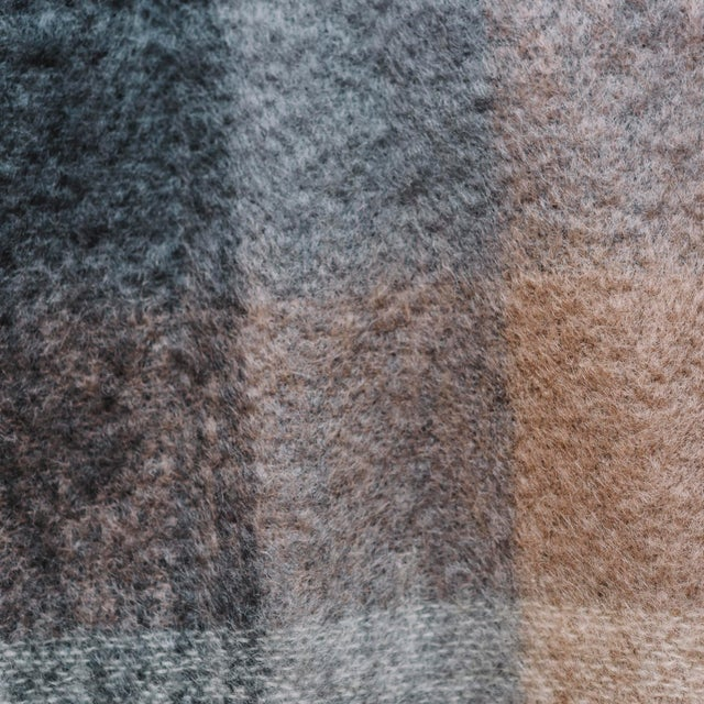 Textile Charcoal White & Mink Check Mohair Throw For Sale - Image 7 of 10