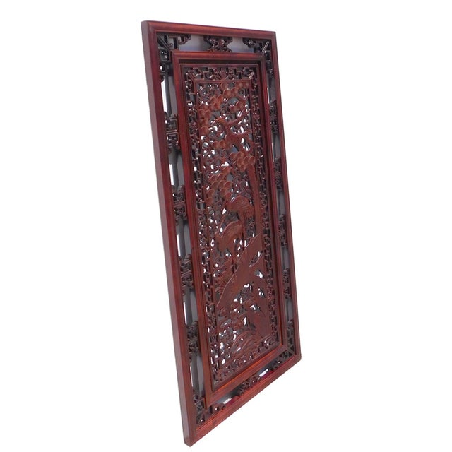 Chinese Wooden Rectangular Wall Screen - Image 4 of 6