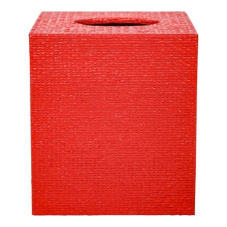 Red Linen Covered Tissue Box Cover For Sale