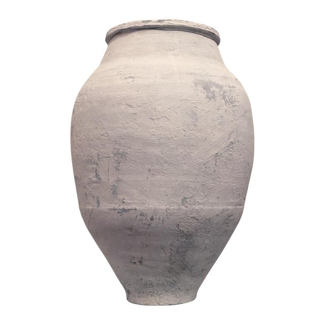 French Provincial Whitewashed Grecian Style Terra Cotta Olive Jar For Sale - Image 3 of 7