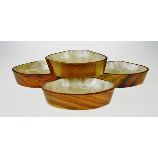 Mid Century Monkey Pod Wood and Capiz Shell Snack Bowls - Image 10 of 11
