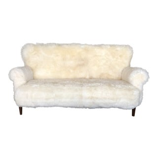 White Mongolian Wool Sofa For Sale