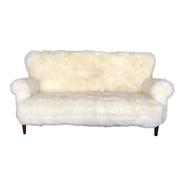 White Mongolian Wool Sofa For Sale
