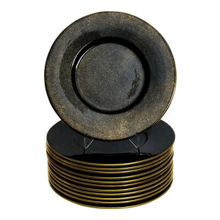 Este Ceramiche Black and Gold Charger Plates - Set of 12 For Sale