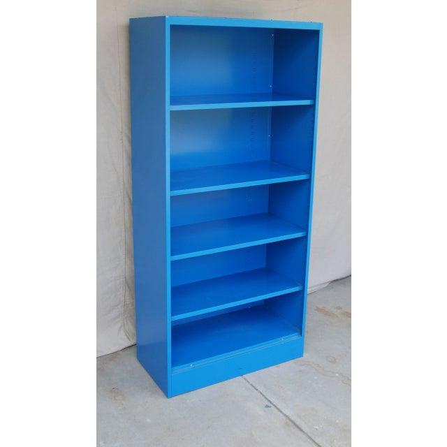 Blue Vintage Metal Bookcase - Image 2 of 5