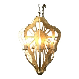 Abstract Gilded Chandelier For Sale