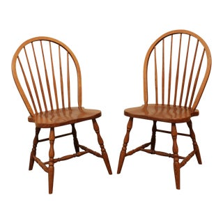 Quality Solid Oak Windsor Style Side Chairs - a Pair For Sale