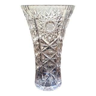 Vintage Hand Cut Crystal Vase For Sale