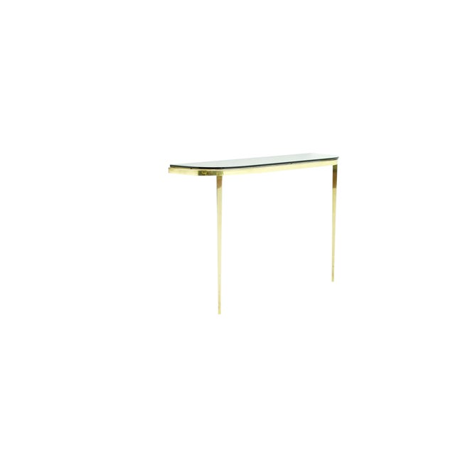 Solid Brass and Glass Wall Console, 1960s For Sale