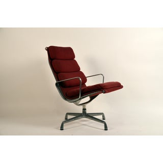 1950s Vintage Eames for Herman Miller Burgundy Ea 216 Soft Pad Swiveling Lounge Chair Preview