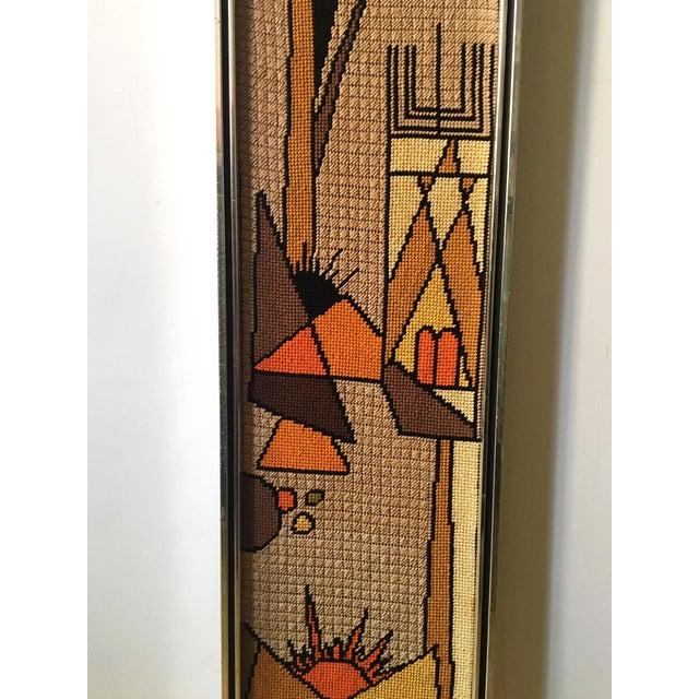 Vintage Framed Judaica Needlepoint Art For Sale - Image 4 of 8