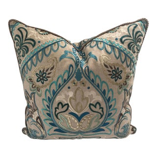 """Boho Chic Designers Guild Teal & Taupe Goose Down Insert 20"""" X 20"""" Pillow For Sale"""