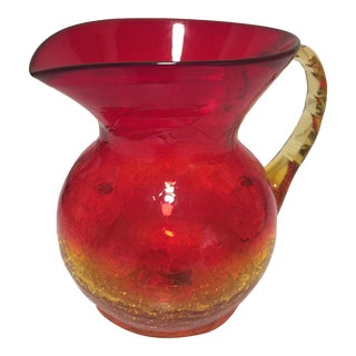 Amberina Crackle Glass Pitcher For Sale