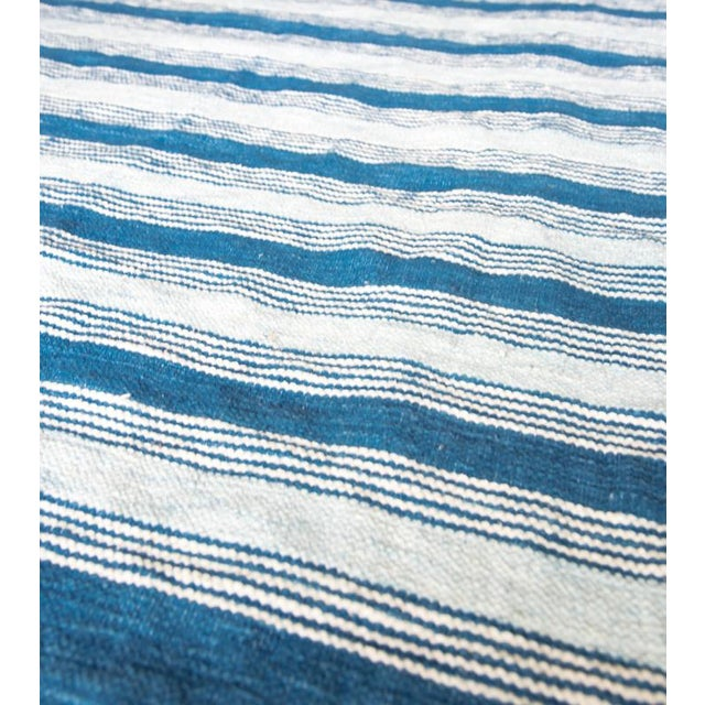 Blue & White Handwoven Striped Rug - 5′ × 8′6″ - Image 2 of 5