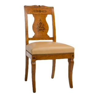19th Century Burlwood Chair in the Biedermeier Style For Sale